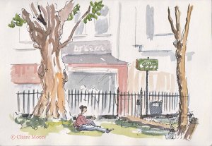 "After parking up, Roy heads down past the Corn Exchange, along Marlborough place, up Trafalgar where he bumps into the dodgy ""under-belly-world-crim"" Terry Biglow right in this very spot by Pelham Square. When I painted this, there was just a lady quietly eating a smoked salmon sandwich though so capturing the sinister undertones was tricky. The café in the background claims that ""Passenger"" thinks they have the best coffee in town, I haven't tried it but I did enjoy the very comfy sofa's in Redwood next door."