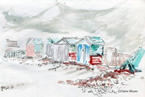 Crumbling beach huts